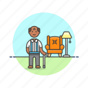 cane, elder, home, lifestyle, man, relax, rest icon