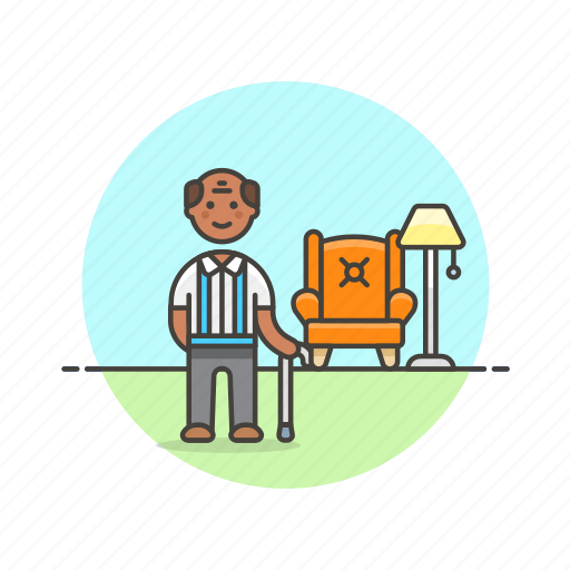 cane, elder, home, lifestyle, man, relax, rest icon