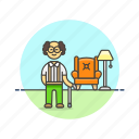 cane, elder, home, lifestyle, man, peace, rest icon
