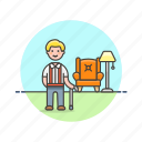 cane, elder, home, lamp, lifestyle, man, rest icon