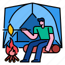 adventure, camp, campfire, forest, lifestyle, tent icon