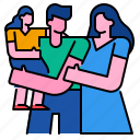 child, family, father, happy, mother, together icon