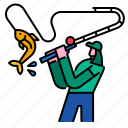 fish, fisherman, fishing, river, rod, water icon