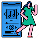 party, listening, music, dance, dancing, song icon