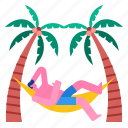 beach, coconuttrees, pew, relax, summer, tropical icon