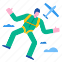 adventure, extreme, jump, parachute, sky, skydiving icon