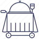 hotel, food, trolley, service icon