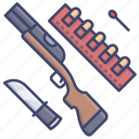 hunter, gun, knife, hunt icon