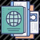 passport, plane, ticket, pass icon