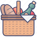 picnic, basket, food, camping