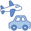 airplane, car, transportation, travel icon