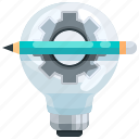 bulb, creativity, education, gear, idea, light, pencil icon