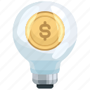 bulb, creative, dollar, idea, innovation, invention, light icon