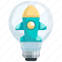 idea, innovation, launch, light, marketing, rocket, start icon