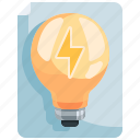 bulb, electricity, electronics, energy, idea, invention, light icon