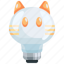 bulb, cat, electronics, idea, illumination, light, technology icon