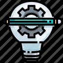 bulb, creativity, education, gear, idea, light, pencil