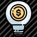 bulb, creative, dollar, idea, innovation, invention, light