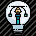 creative, creativity, design, graphic, idea, light, pencil icon