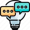 bubble, bulb, chat, creative, dialogue, inspiration, light icon