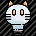 bulb, cat, electronics, idea, illumination, light, technology