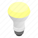 bulb, equipment, isometric, lamp, led, light, technology icon