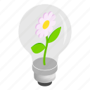 bulb, energy, idea, isometric, light, lightbulb, plant icon