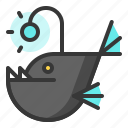 anglerfish, fish, glow, light, of, shine, source icon