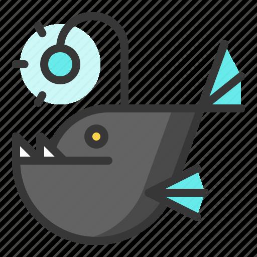 anglerfish, fish, glow, light, of, shine, source icon