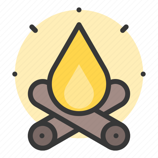 campfire, fire, glow, light, of, shine, source icon