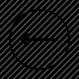 arrow, back, circle, left, line, move, previous icon