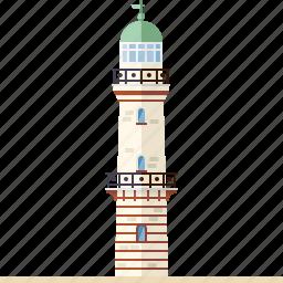 beach, beacon, building, lighthouse, nautical, safety, warnemunde lighthouse icon