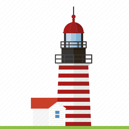beacon, building, lighthouse, maine, nautical, stripes, west quoddy head lighthouse icon