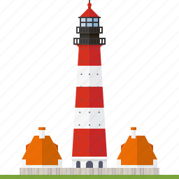 beacon, building, houses, lighthouse, nautical, westerheversand lighthouse, wharf icon