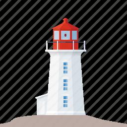 beacon, canada, landmark, lighthouse, nautical, nova scotia, peggys cove icon