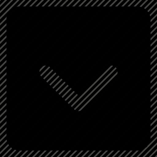 arrow, chevron, down, next, square icon