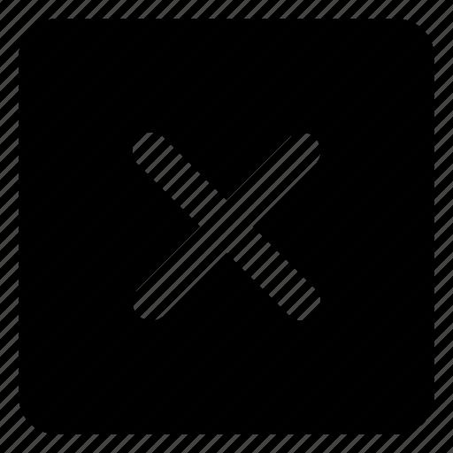 cancel, close, delete, deny, dismiss, no, remove, square icon