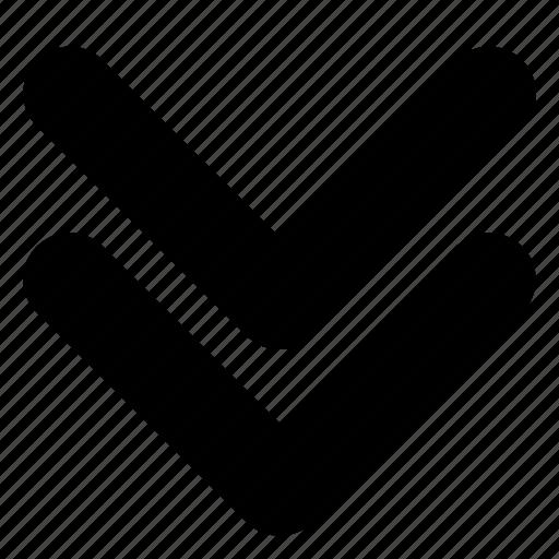 arrows, chevron, double, down, next icon