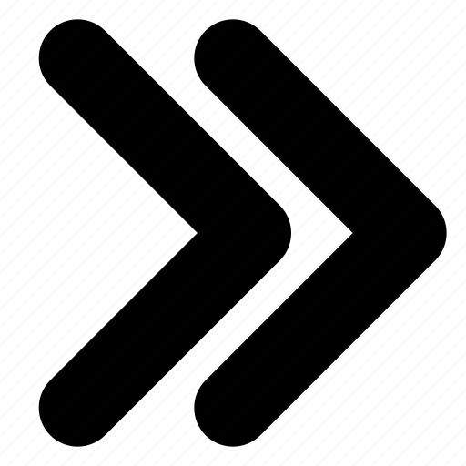 arrows, chevron, double, forward, right icon