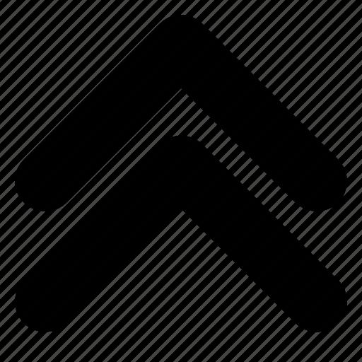arrows, chevron, double, previous, up icon