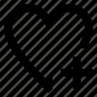 add, favorite, heart, love, plus icon