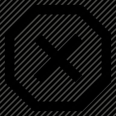 error, sign, stop, warning icon