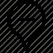 delete, location, map, marker, minus, pin, remove icon