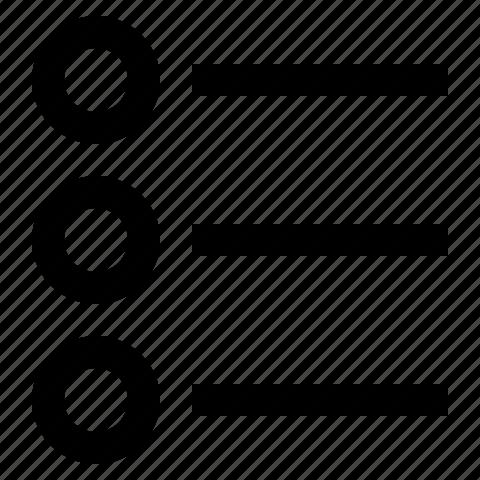 checklist, lines, list, radio icon