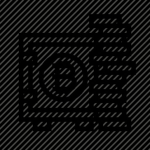 bitcoin, box, coins, lock, safety, storage, vault icon