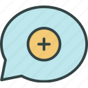 add, chat, conversation, message, new, plus, talk icon