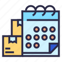 box, calendar, delivery, delivery in time, shipping icon