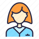 avatar, girl, profile, user, woman, worker icon