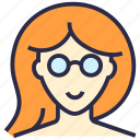 avatar, girl, glasses, profile, user, woman icon