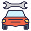 car, car service, garage, mechanic, repairs, wrench icon
